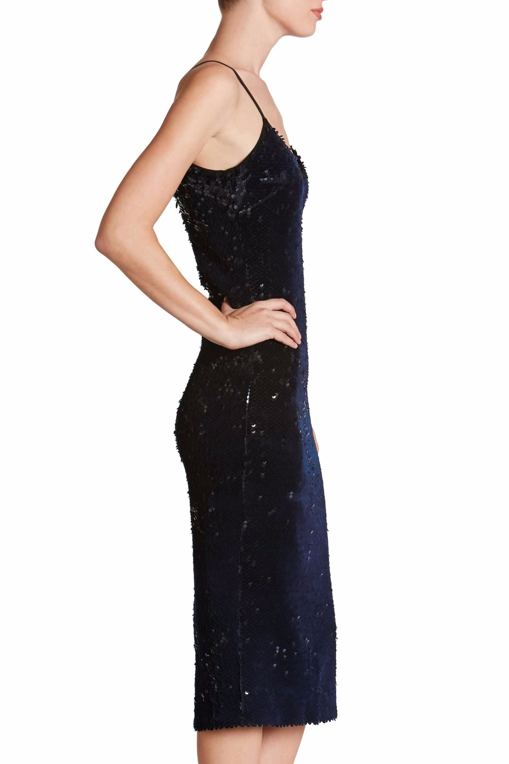 Dress the Population Midnight Sequin Midi Dress - Side Cropped Image