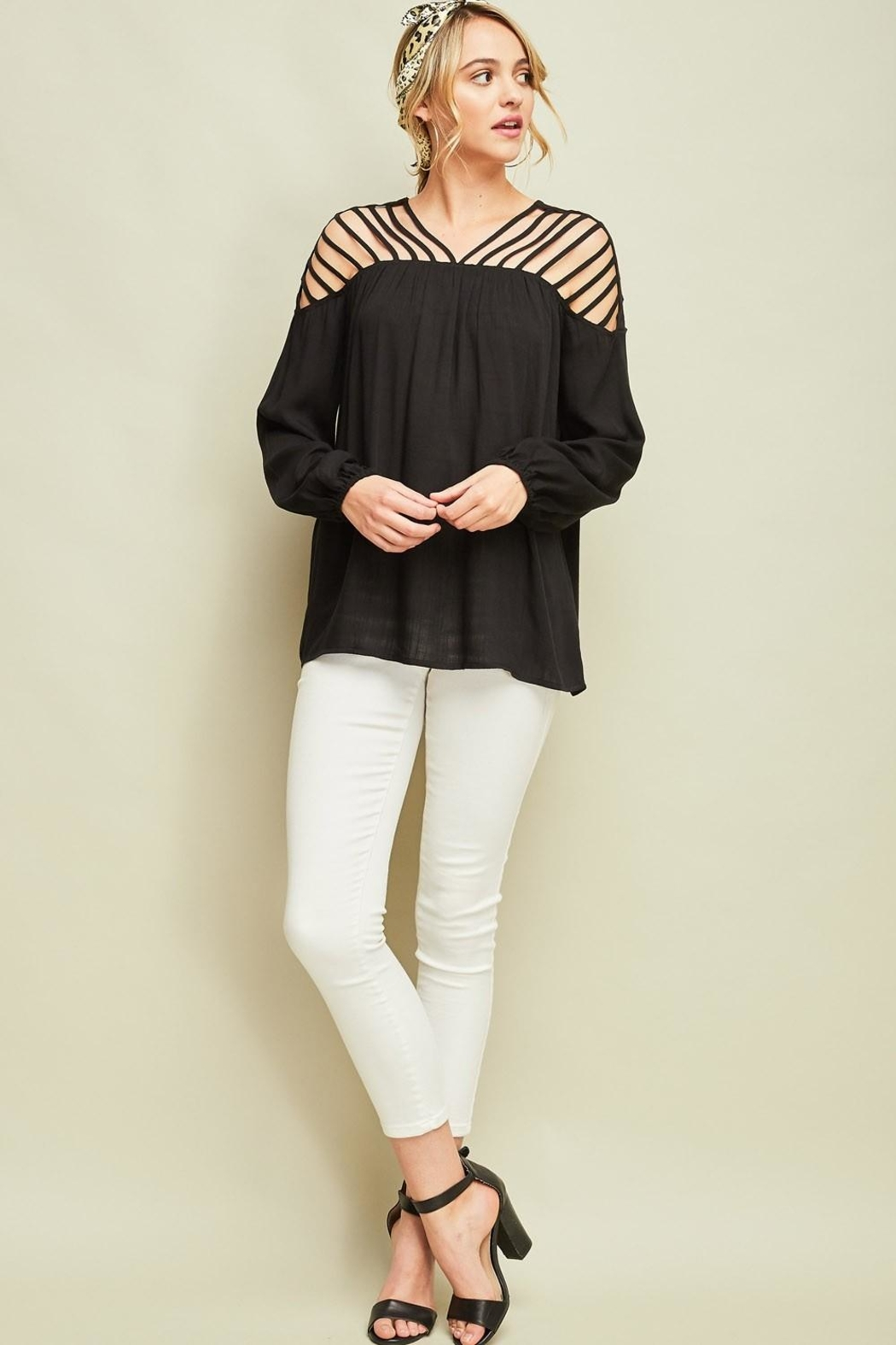 Entro Dressy Cutout Top - Front Full Image