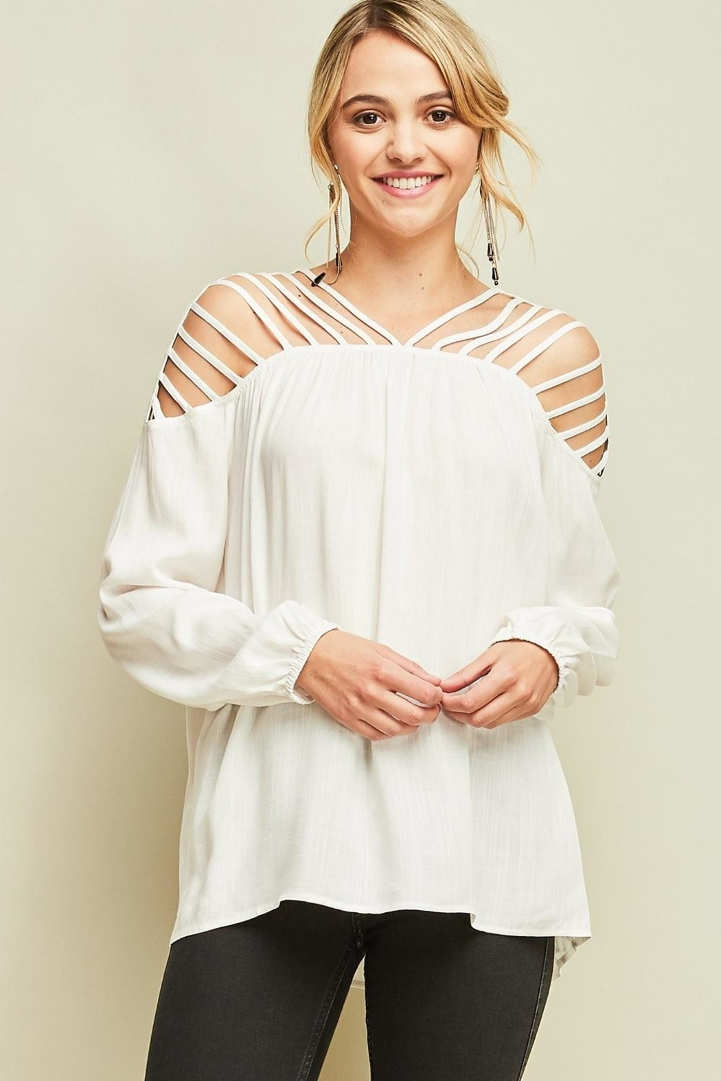 Entro Dressy Cutout Top - Front Cropped Image