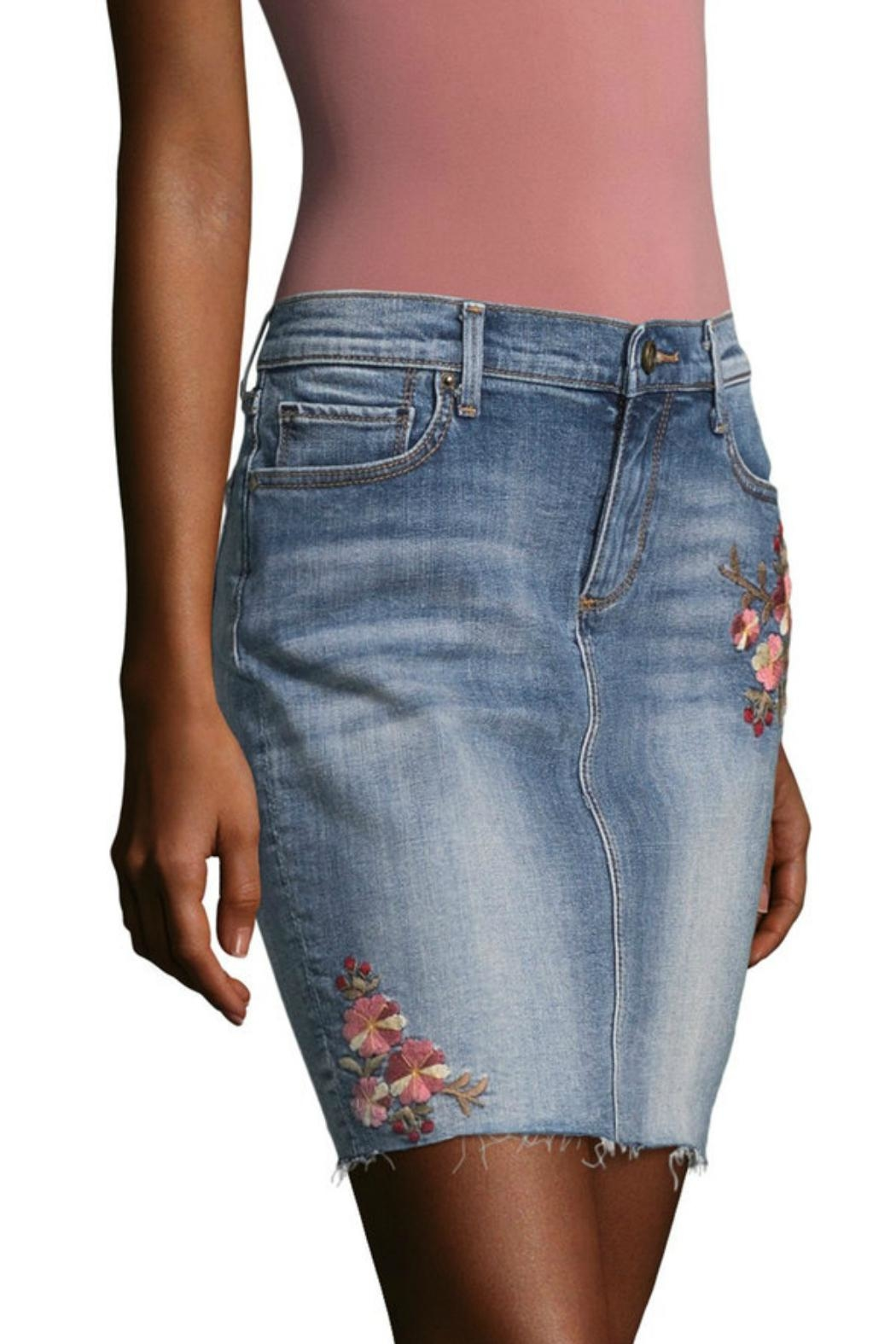 Driftwood Embroidered Denim Skirt - Front Cropped Image