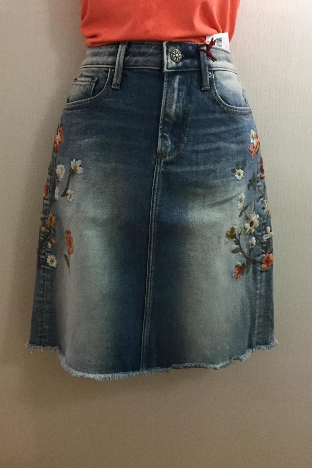 Driftwood Embroidered Jeans Skirt - Main Image