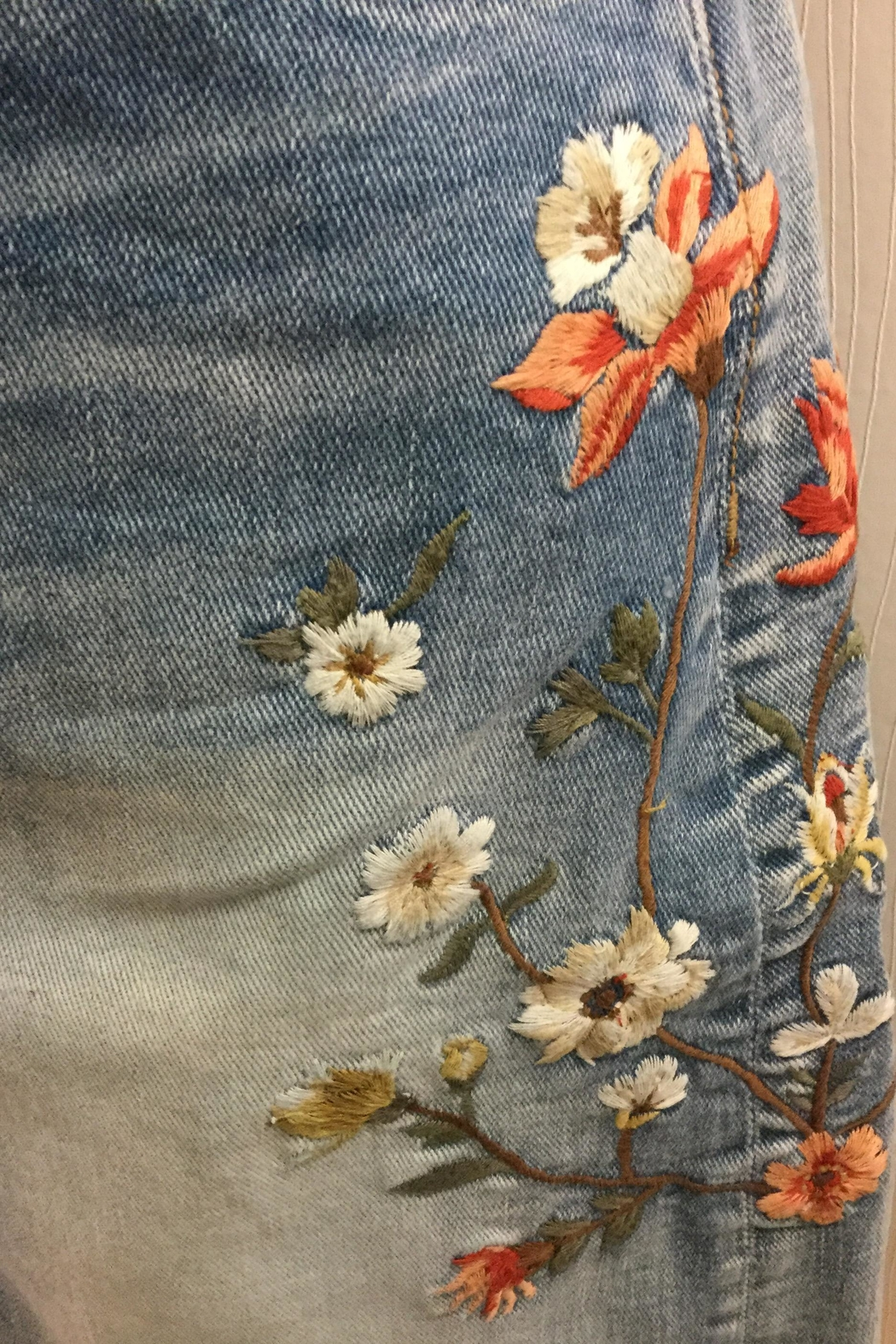 Driftwood Embroidered Jeans Skirt - Front Full Image