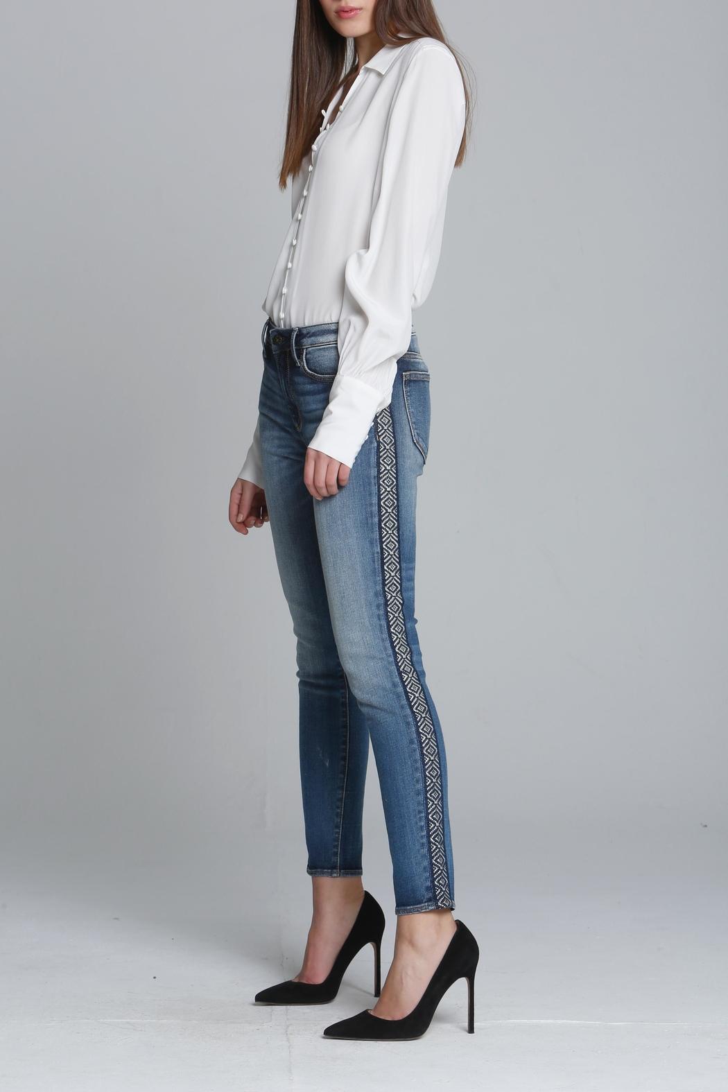 Driftwood Embroidered Skinny Jeans - Main Image