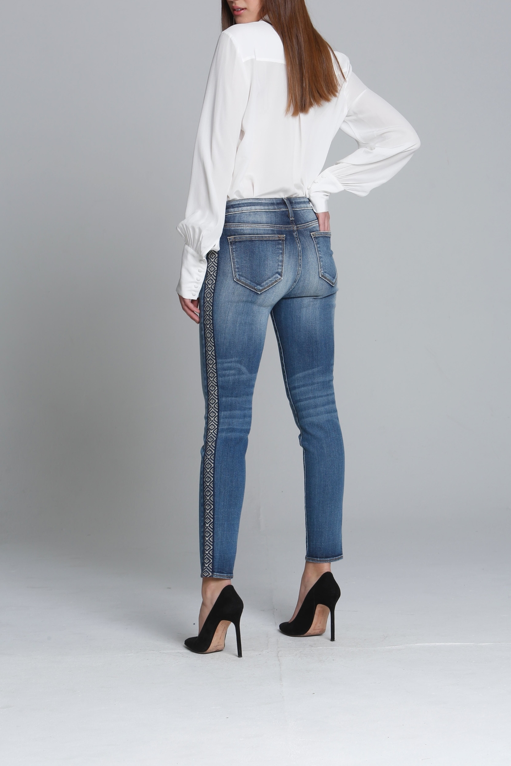 Driftwood Embroidered Skinny Jeans - Front Full Image