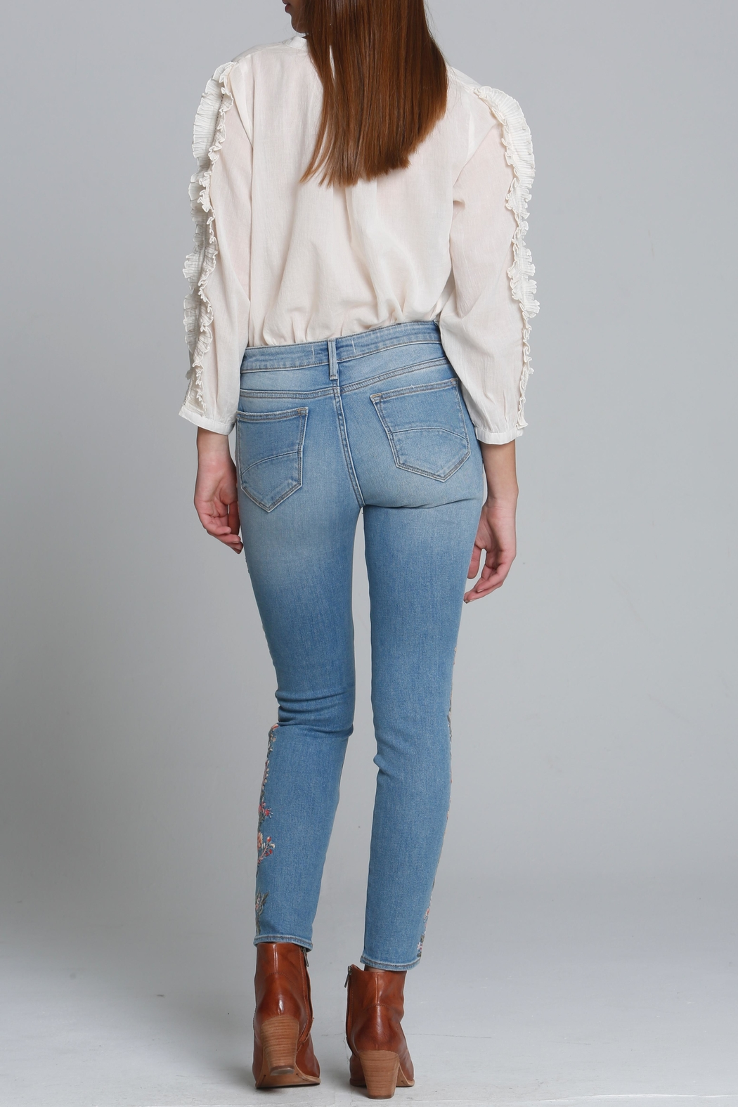 Driftwood Floral Embroidered Jeans - Front Full Image