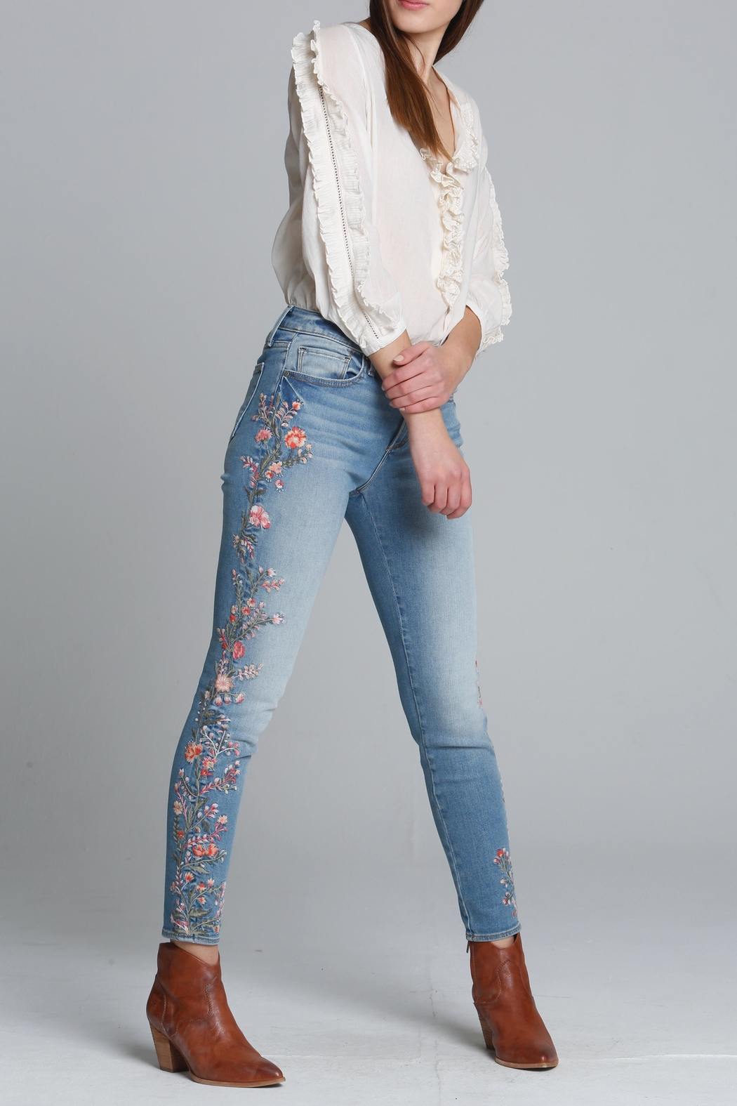 Driftwood Floral Embroidered Jeans - Main Image
