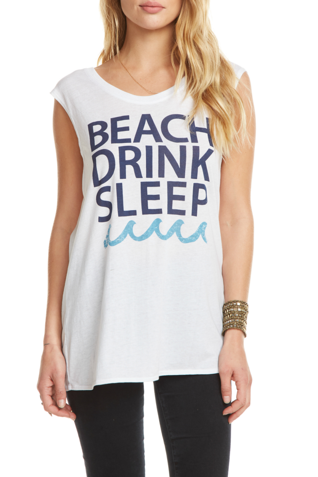 Chaser Drink Beach Sleep Cap Slv Tee - Front Cropped Image