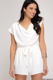 She and Sky Drop Shoulder Cowl Neck Romper - Product Mini Image