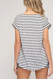 She and Sky Drop Shoulder Front Tie Striped Top - Back cropped