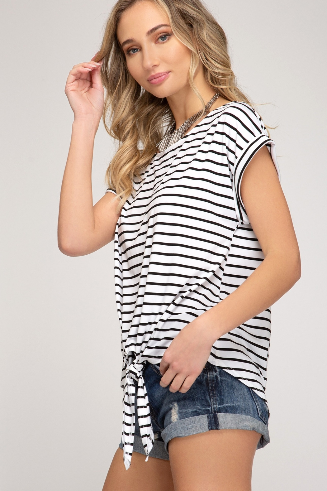 She and Sky Drop Shoulder Front Tie Striped Top - Front Full Image
