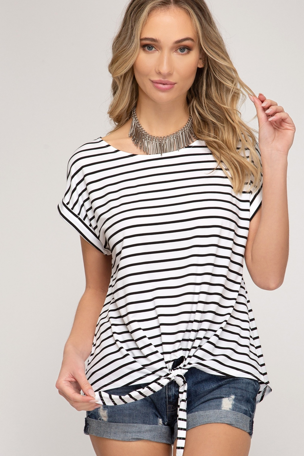 She and Sky Drop Shoulder Front Tie Striped Top - Main Image