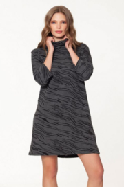 Isle Apparel Drop Shoulder Funnel Neck Dress - Front cropped