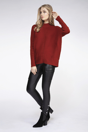 Dex Drop Shoulder Mock Neck Ribbed Sweater - Product Mini Image