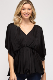 She & Sky  Drop Shoulder Wide Sleeve Satin Top - Product Mini Image