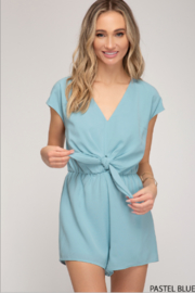 She and Sky Drop Shoulder Woven Romper w/ Tie - Product Mini Image