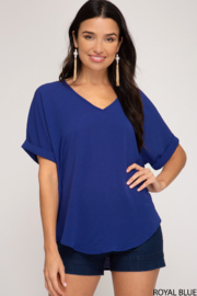 She and Sky DROP SHOULDER WOVEN TOP - Front cropped
