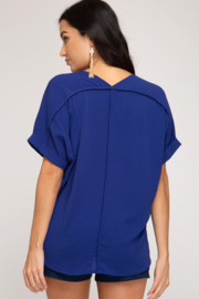 She and Sky DROP SHOULDER WOVEN TOP - Front full body