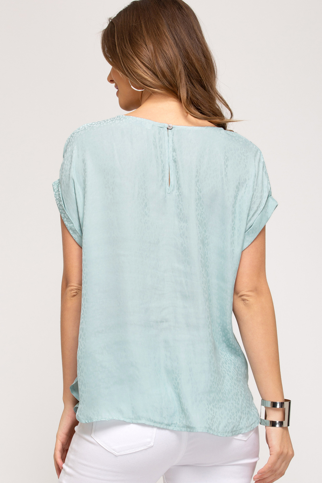 She and Sky DROP SHOULDER WOVEN TOP W/ ROUNDED HEM - Front Full Image