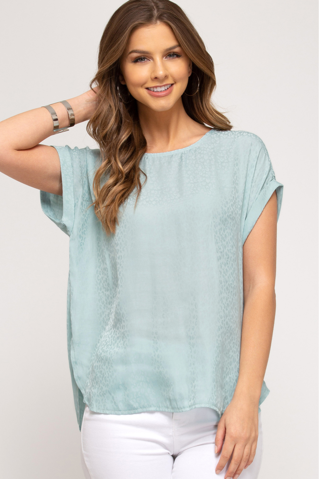 She and Sky DROP SHOULDER WOVEN TOP W/ ROUNDED HEM - Main Image