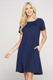 Yelete DRS270 - Short Sleeve A-Line Dress with Pockets - Product Mini Image