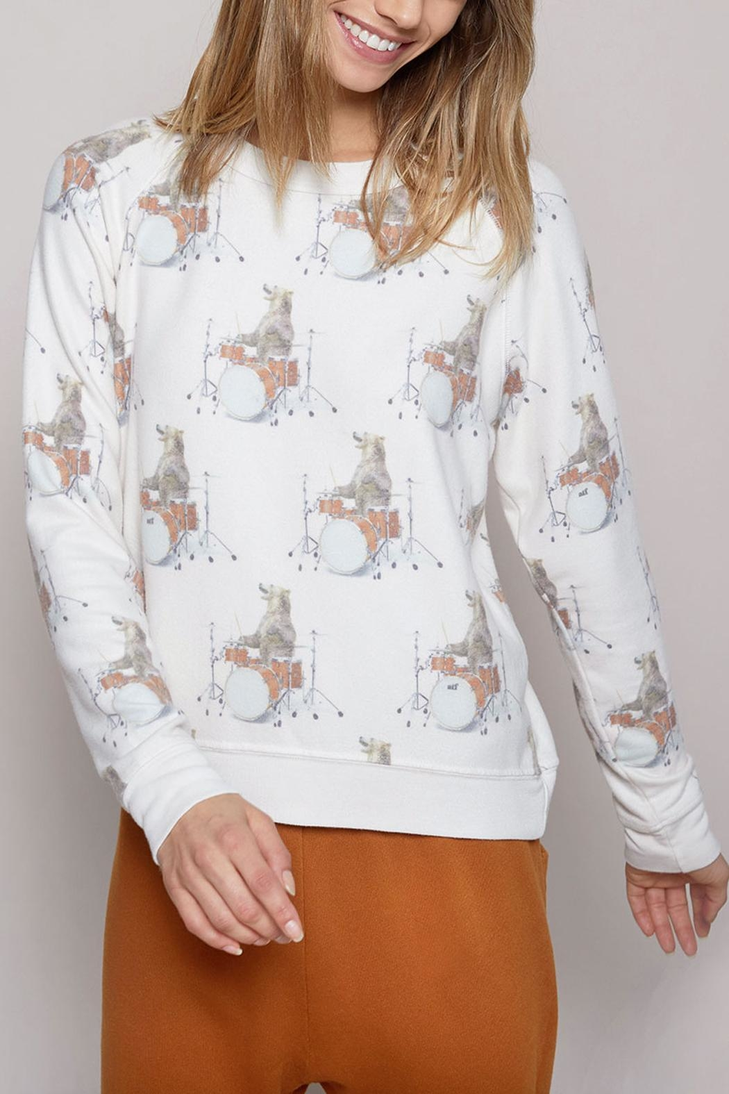 All Things Fabulous Drummer Bear Sweater - Front Full Image