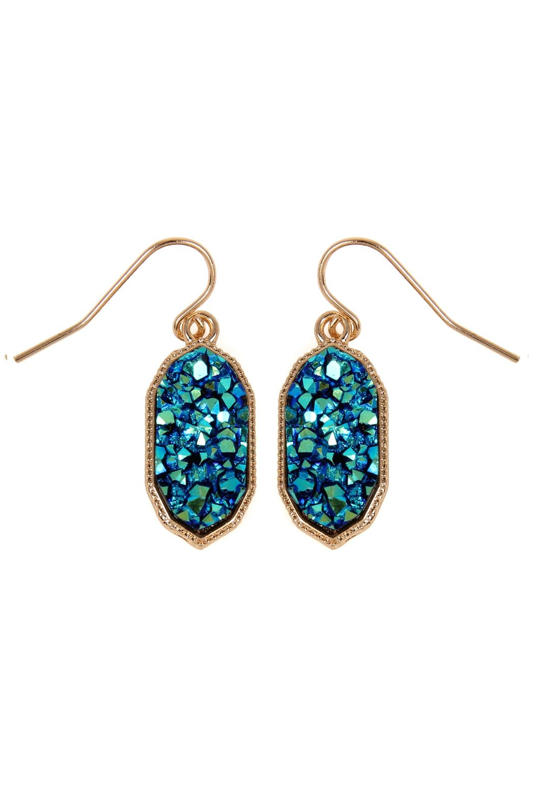Riah Fashion Druzy-Crystal Oval-Earrings - Front Cropped Image