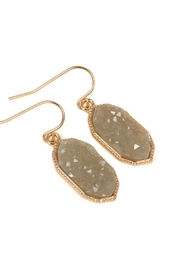 Riah Fashion Druzy-Crystal Oval-Earrings - Front full body