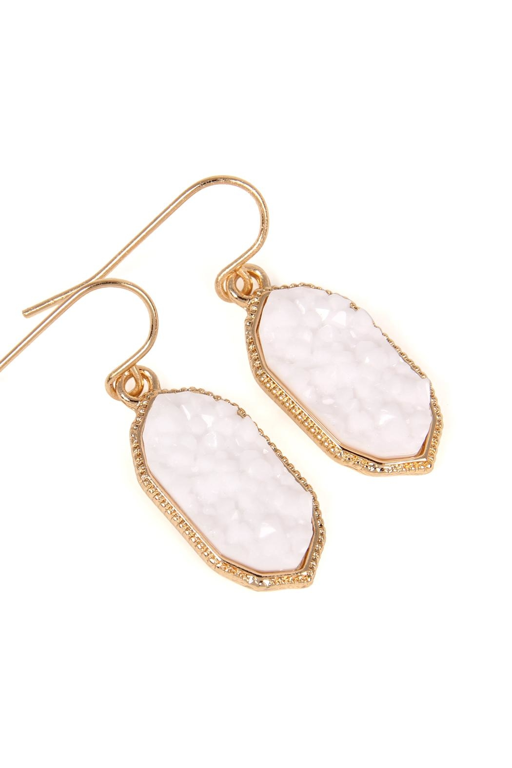 Riah Fashion Druzy-Crystal Oval-Earrings - Front Full Image