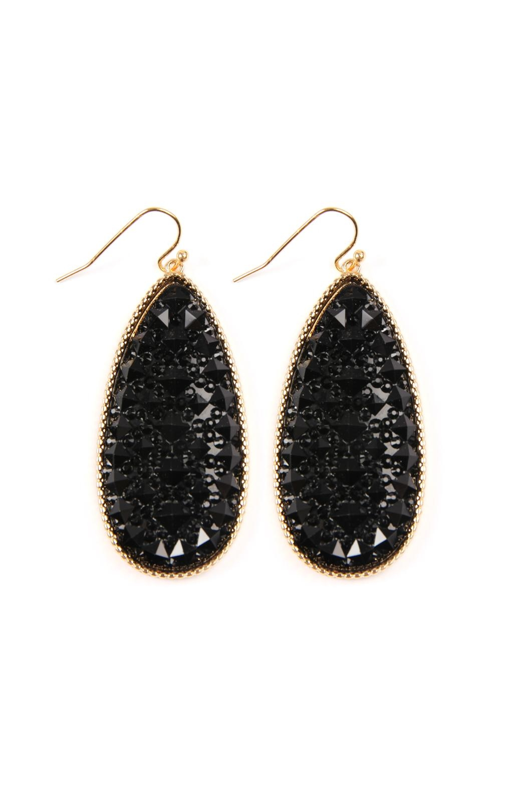 Riah Fashion Druzy Faceted Teardrop Earrings Front Cropped Image