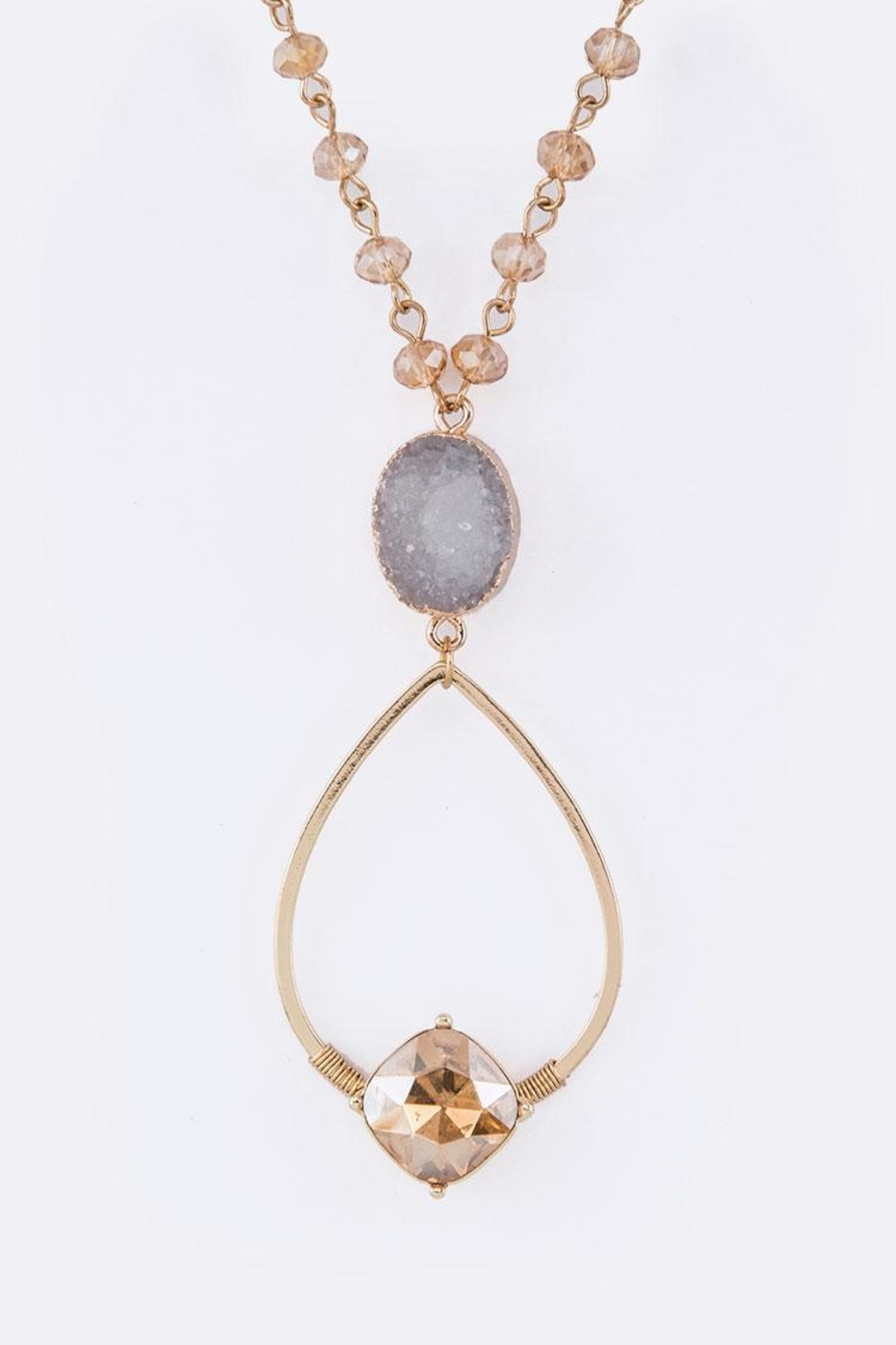 Nadya's Closet Druzy Mix-Crystal Necklace - Front Cropped Image