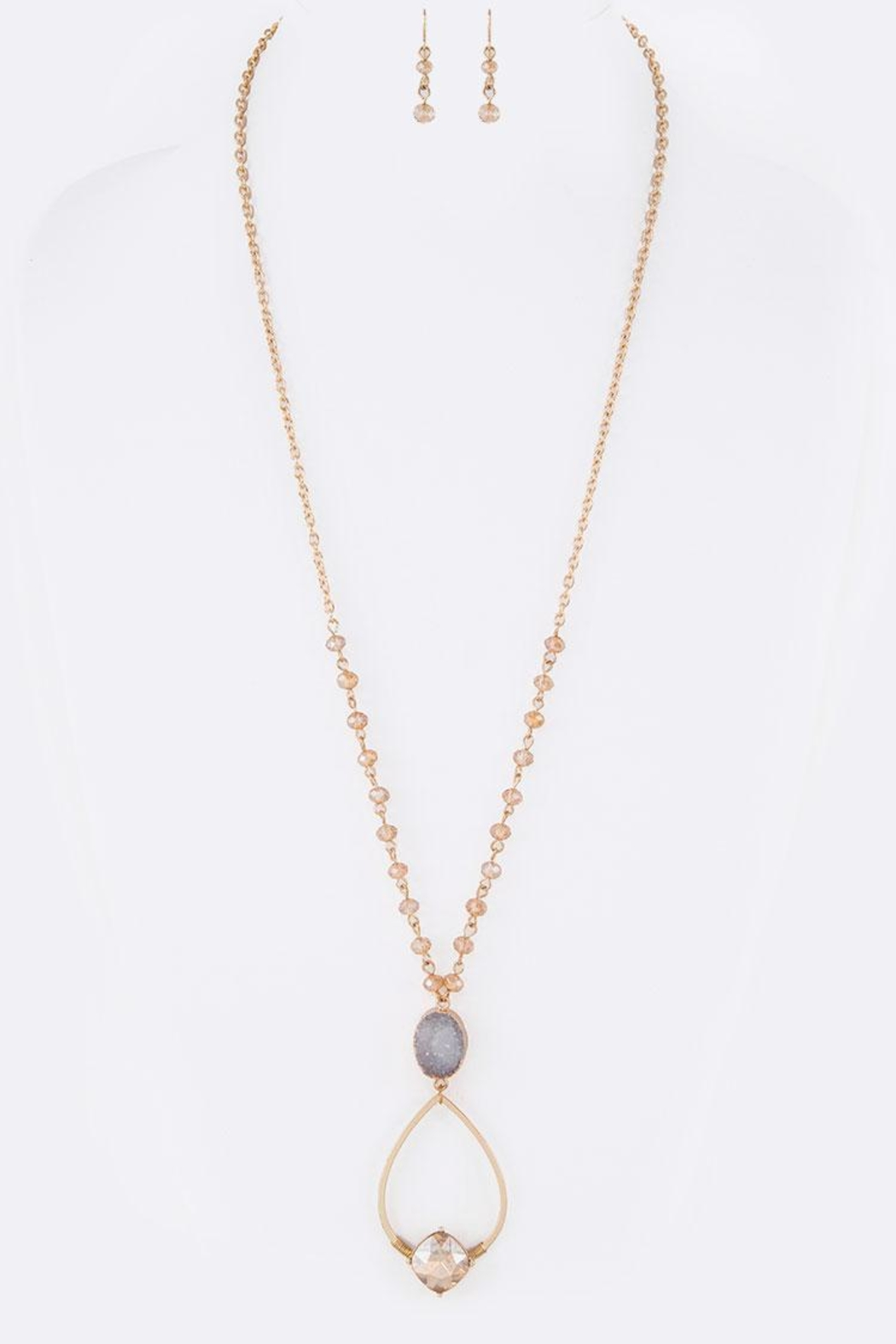 Nadya's Closet Druzy Mix-Crystal Necklace - Front Full Image