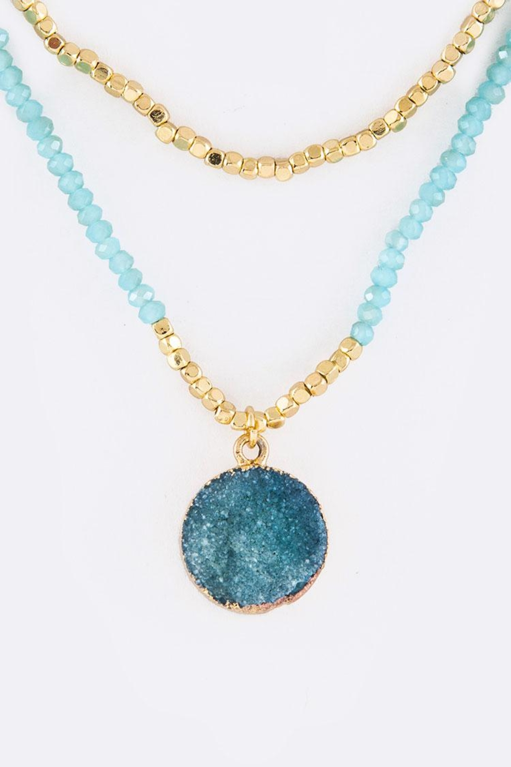 Nadya's Closet Druzy Pendant Necklace - Front Cropped Image