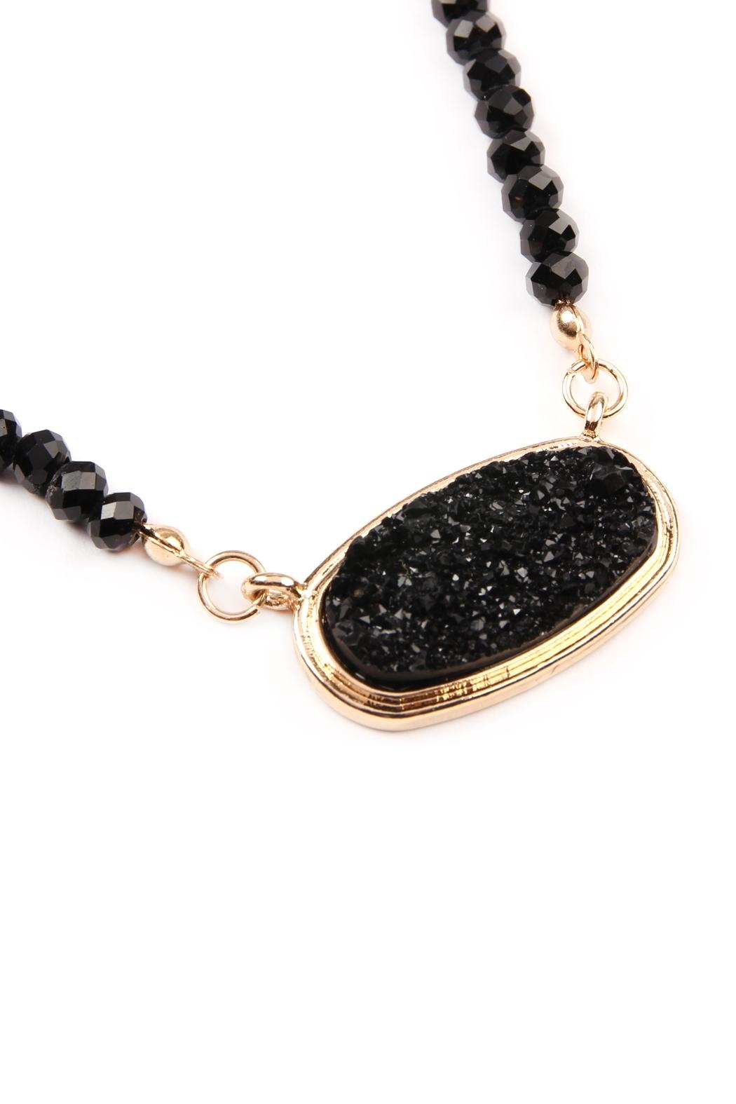 Riah Fashion Druzy-Quartz Crystal-Bead-Necklaces With-Stud-Earring - Front Full Image