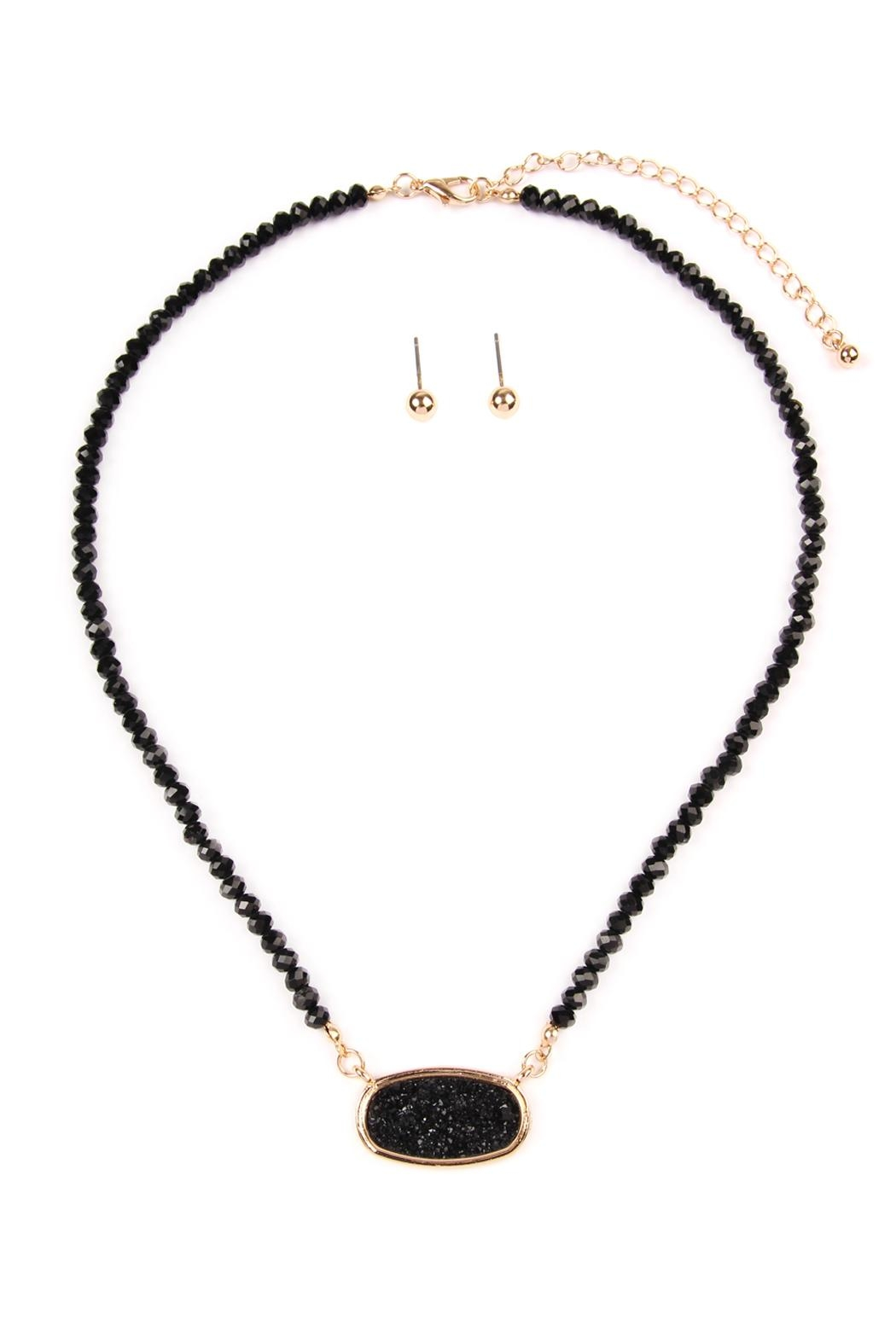 Riah Fashion Druzy-Quartz Crystal-Bead-Necklaces With-Stud-Earring - Front Cropped Image