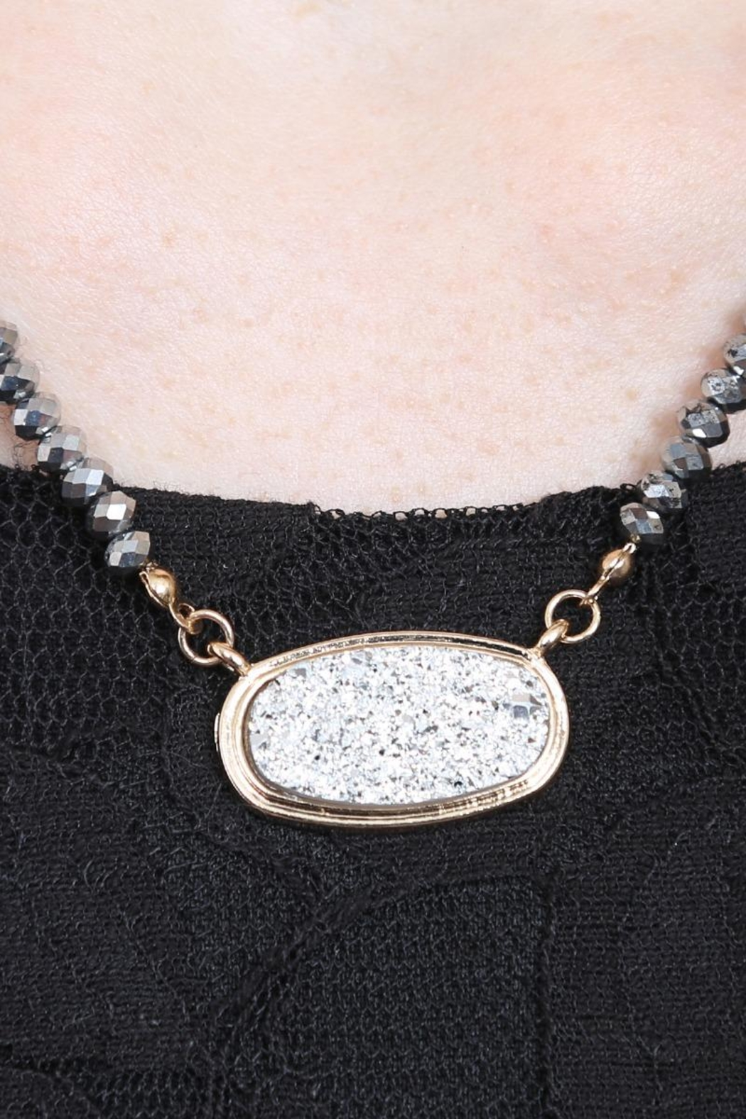 Riah Fashion Druzy-Quartz Crystal-Bead-Necklaces With-Stud-Earring - Back Cropped Image