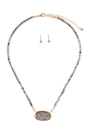 Riah Fashion Druzy-Quartz Crystal-Bead-Necklaces With-Stud-Earring - Front cropped