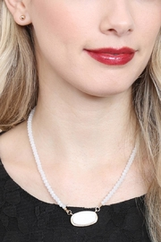 Riah Fashion Druzy-Quartz Crystal-Bead-Necklaces With-Stud-Earring - Back cropped