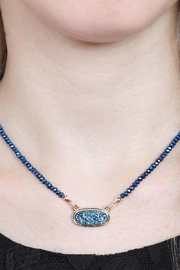 Riah Fashion Druzy-Quartz Crystal-Bead-Necklaces With-Stud-Earring - Other