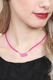 Riah Fashion Druzy-Quartz Crystal-Bead-Necklaces With-Stud-Earring - Side cropped