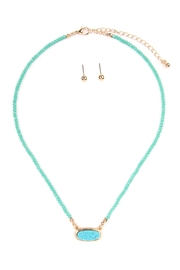 Riah Fashion Druzy-Quartz Crystal-Bead-Necklaces With-Stud-Earring - Product Mini Image