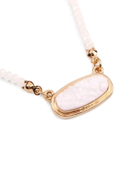 Riah Fashion Druzy-Quartz Crystal-Bead-Necklaces With-Stud-Earring - Front full body