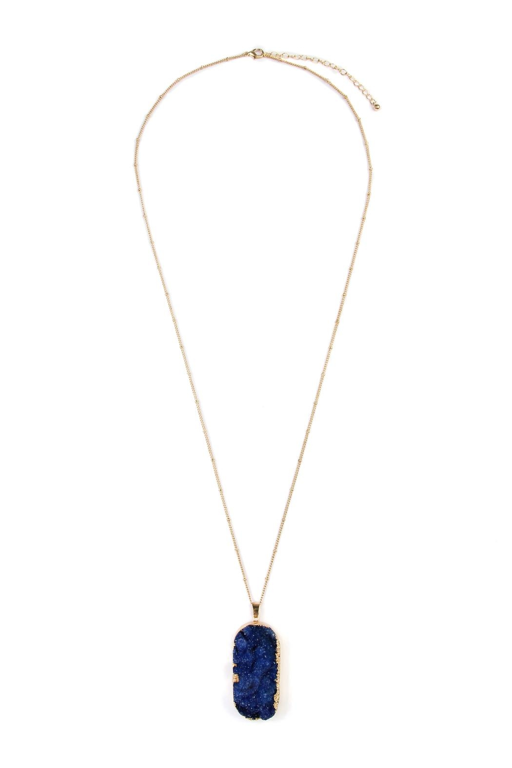 Riah Fashion Druzy Stone Necklace - Front Cropped Image