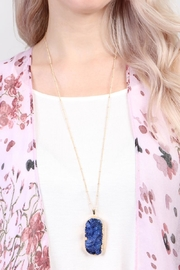 Riah Fashion Druzy Stone Necklace - Side cropped