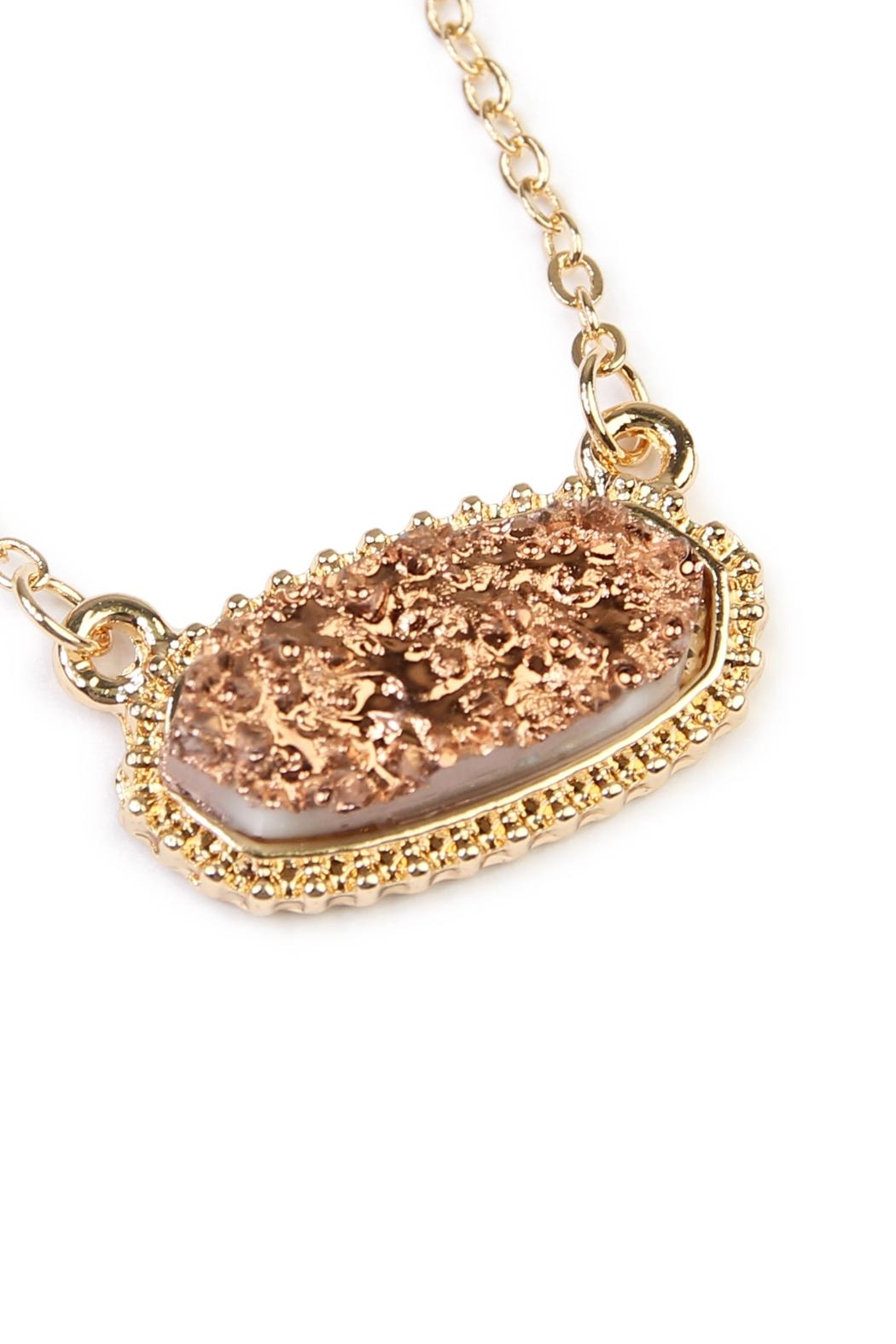 Riah Fashion Druzy Stone Necklace - Front Full Image