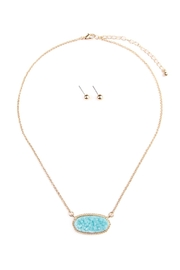 Riah Fashion Druzy-Stone Pendant-Necklace And-Stud-Earring-Set - Product Mini Image