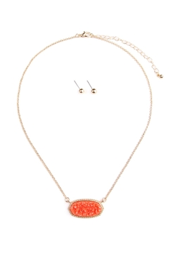 Shoptiques Product: Druzy-Stone Pendant-Necklace And-Stud-Earring-Set