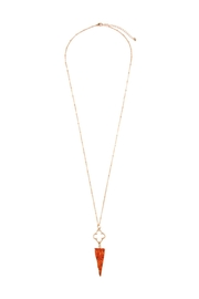 Riah Fashion Druzy-Triangle-Stone Pendant Necklace - Product Mini Image