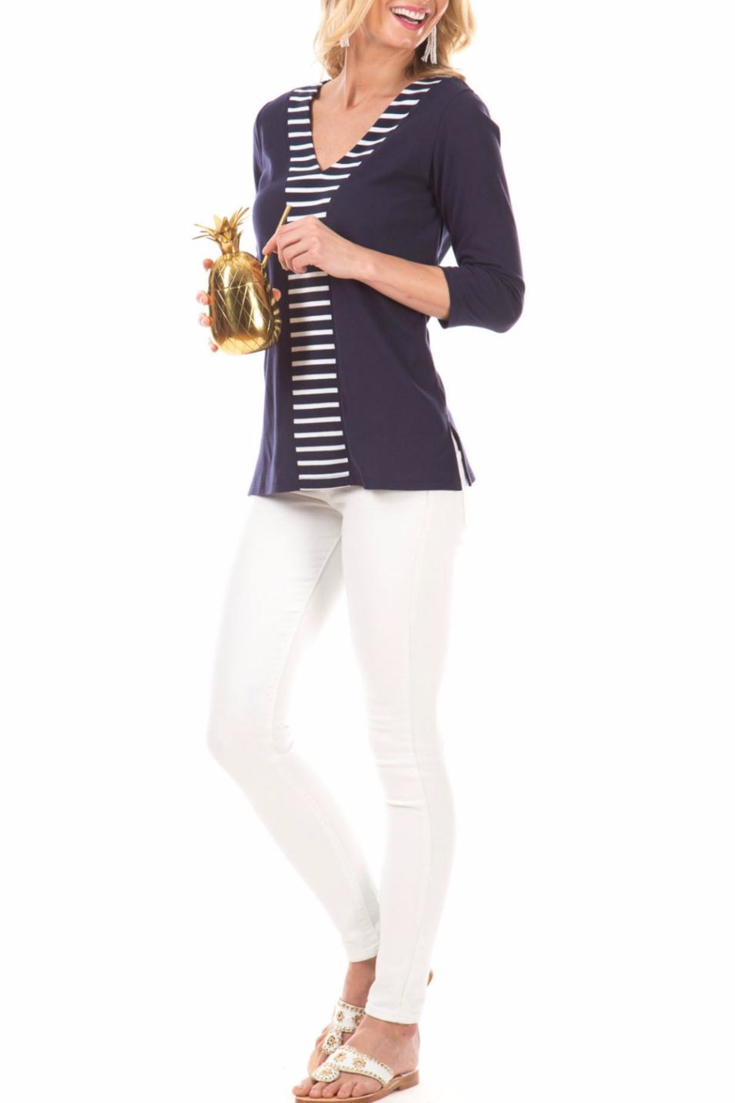 Duffield Lane Striped Accent Tunic - Front Full Image