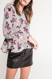 Black Swan Dusk Grey Floral Bell Sleeve Blouse - Product Mini Image