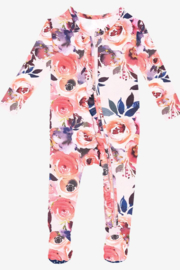 Posh Peanut Dusk Rose Ruffled Zipper Footie - Product Mini Image